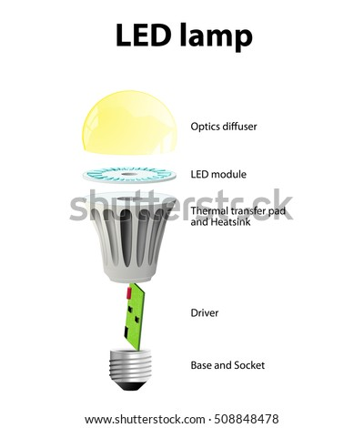 Cool Diagram Showing Parts Modern Led Lamp Stock Vector Royalty Free Wiring 101 Swasaxxcnl