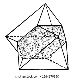 A diagram showing the twin octahedron. A twin contact, since the two octahedrons are simply in contact with each other in a certain plane, vintage line drawing or engraving illustration.