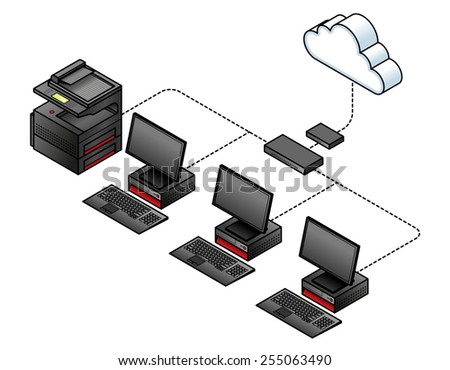diagram simple wired network broadband modem stock vector (royalty hub network diagram diagram of a simple wired network with a broadband modem gateway, a network switch