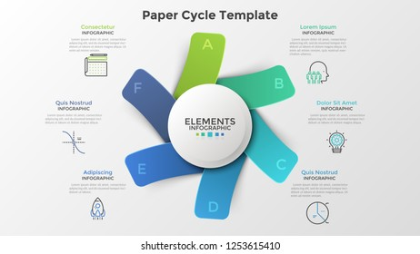 Diagram with six paper colorful rectangles or cards placed around white round element. Modern infographic design template. Trendy vector illustration for 6-stepped business project, cyclical process.