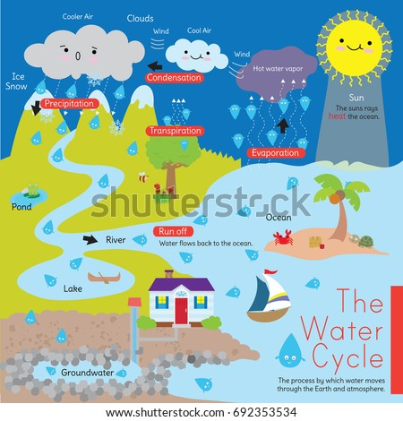 Diagram That Explains Water Cycle Known Stock Vector Royalty Free