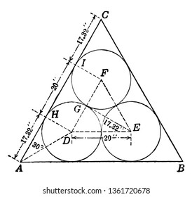 A diagram of three circles enclosed in an equilateral triangle, vintage line drawing or engraving illustration.