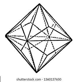 A diagram of Triakis -octahedron. It is limited by twenty-four isosceles triangles, and can be considered as an octahedron with a low triangular pyramid on each of its faces, vintage line drawing