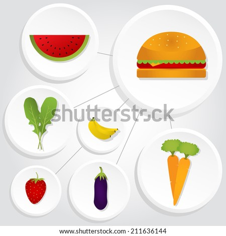Diagram Vegetables Fruits Hamburger Interconnected Icons Stock