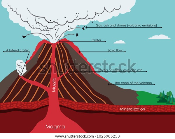 Diagram Volcano Stock Vector  Royalty Free  1025985253