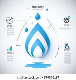 Diagram of water concept. included icon and sample text. vector illustration.