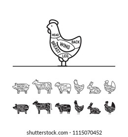 Diagrams for butcher shop - chiken. Meat cuts. Animal silhouette, pig, cow, lamb, chicken, turkey, rabbit. Vector illustration.