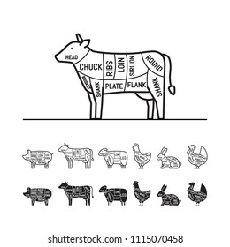 Diagrams for butcher shop - cow. Meat cuts. Animal silhouette, pig, cow, lamb, chicken, turkey, rabbit. Vector illustration.