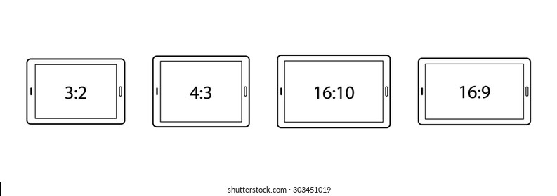 Diagrams comparing differences between different screen aspect ratios. Tablets in landscape.