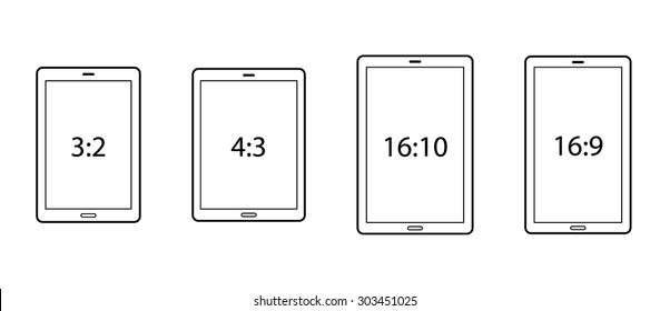Diagrams comparing differences between different screen aspect ratios. Tablets in portrait.