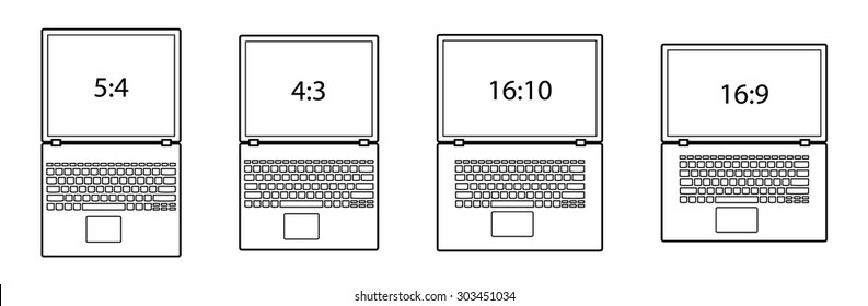 Diagrams comparing differences between different screen aspect ratios. Laptop/notebook computers.
