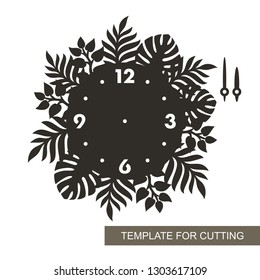 Dial with arrows and arabic numerals. Silhouette of clock with tropical leaves on white background. Decor for home. Template for laser cutting, wood carving, paper cut or printing. Vector illustration
