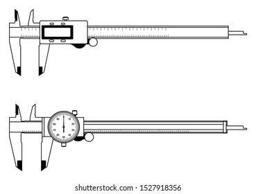 Dial caliper and digital caliper. Measuring instrument. Vector thin line