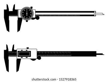 Dial caliper and digital caliper. Measuring instrument. Vector illustration