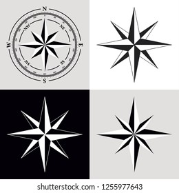 Dial Compas and Rose of Wind Set. Rose of  wind compass icons set, vector illustration