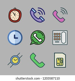 dial icon set. vector set about wristwatch, telephone, clock and phone call icons set.