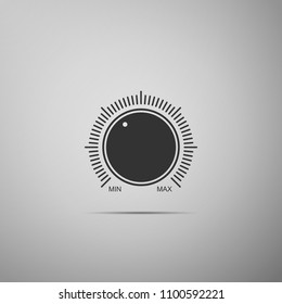 Dial knob level technology settings icon isolated on grey background. Volume button, sound control, music knob with number scale, sound control, analog regulator. Flat design. Vector Illustration