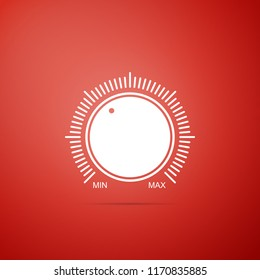 Dial knob level technology settings icon isolated on red background. Volume button, sound control, music knob with number scale, analog regulator. Flat design. Vector Illustration