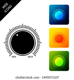 Dial knob level technology settings icon isolated. Volume button, sound control, music knob with number scale, analog regulator. Set icons colorful square buttons. Vector Illustration