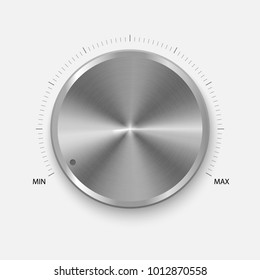 Dial Knob. Realistic Metal Button With Circular Processing. Volume settings, sound control