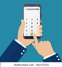 Dial number concept. Businessman touching buttons with numbers on the mobile phone screen to make a phone call