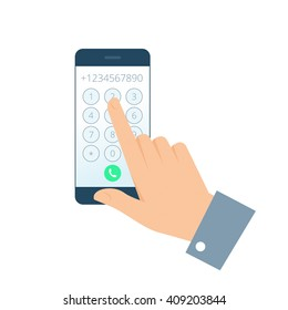 Dial number concept. Flat illustration of smartphone and hand. Businessman touching buttons with numbers on the mobile phone screen to make a phone call. Vector infographic element for web, print.