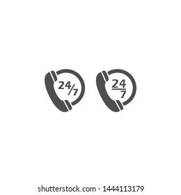 Dial phone, 24/7 service black vector icon. Contact phone, twenty four seven servise symbol pictogram.