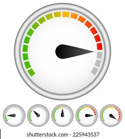 Dial template with segmented, color coded level indicator
