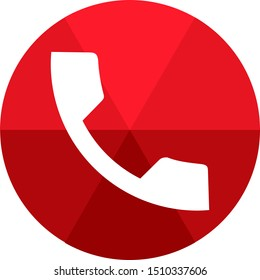 Dialer hangup app icon. Voice call cut sign. Red colour phone receiver. Circular flat 3d design. Phone receiver illustration in front of green background.
