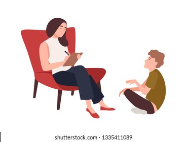 Dialog between female psychologist, psychoanalyst or psychotherapist and kid patient sitting in front of her. Child psychotherapy, psychotherapeutic aid for teens. Flat cartoon vector illustration.
