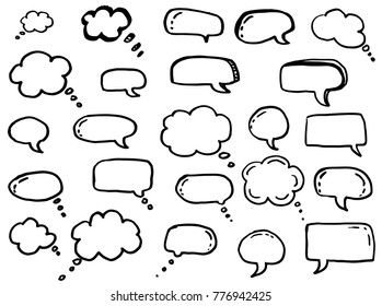 Dialog box icon, chat cartoon bubbles. Hand drawn set.