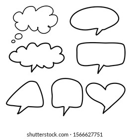 dialog box icon,chat cartoon. hand drawn set