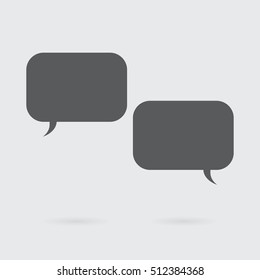 Dialog boxes in dark gray color with big copy space. Simple modern design elements on conceptual image.