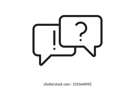 Dialog boxes icon. Question mark and exclamation mark. Vector illustration