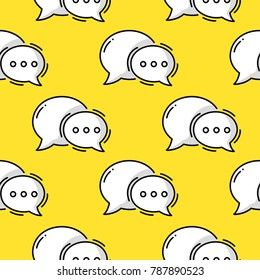 Dialog Bubble. Doodle colored seamless line pattern.