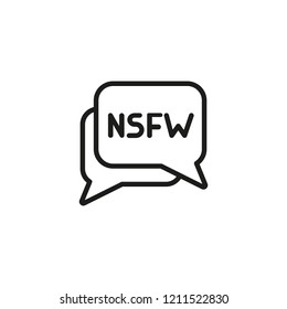 Dialog bubbles with NSFW anagram line icon. Forbidden content, parental advisory, net neutrality. Censorship concept. Vector illustration can be used for topics like media, internet, information