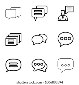 Dialog icons. set of 9 editable outline dialog icons such as chat, message