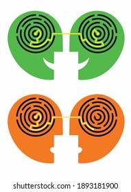 Dialog, psychotest , psychology concept. Male  head silhouettes with maze symbolizing understanding. Vector available.