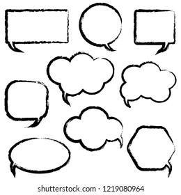 Dialogue boxes signs set,dialog frames vector illustration. Flat design.