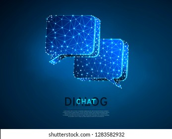 Dialogue, Chat clouds. Wireframe digital 3d illustration. Low poly technology, devices, people communication concept on blue background. Abstract Vector polygonal neon Social Network symbol RGB