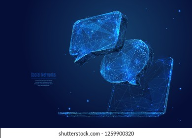 Dialogue clouds on laptop screen. Low-poly vector wireframe illustration in starry sky and cosmos style.  Digital Technology and devices concept. Abstract Social Network or Chat theme in blue color.