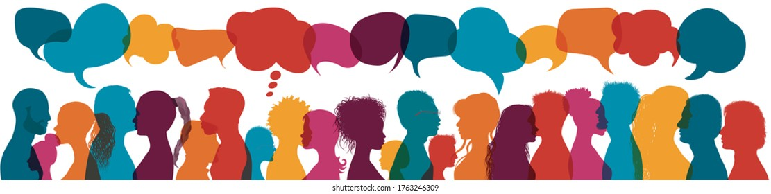 Dialogue group of diverse multiethnic multicultural people. Talking and share ideas. Communication concept. Crowd talking. Silhouette heads diversity people in profile. Speech bubble