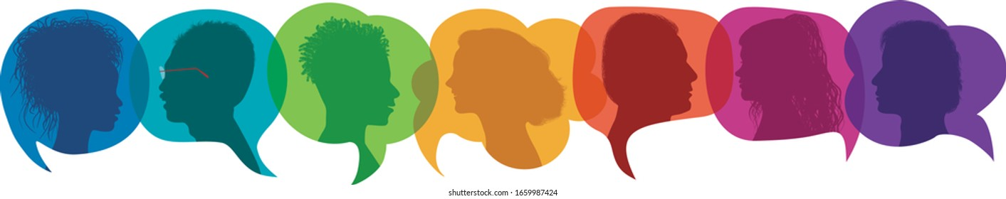 Dialogue group of diverse people.Communication multiethnic people.Crowd multicultural talking.Silhouette profiles.Rainbow colors.Sharing ideas and thoughts.Speak.Friendship.Speech bubble