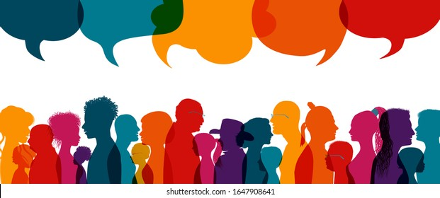 Dialogue group of diverse people.Group of families.Communication multiethnic people. Crowd talking.Sharing information and ideas.Silhouette.Speak discussion.Globalization.Speech bubble