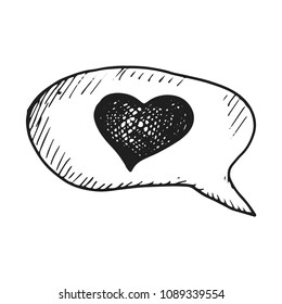 dialogue with heart icon vector sketch. hand drawing.