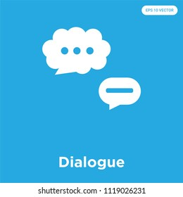 Dialogue vector icon isolated on blue background, sign and symbol, Dialogue icons collection
