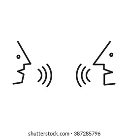Dialogue,contact, conversational exchange between two individuals, simple icon
