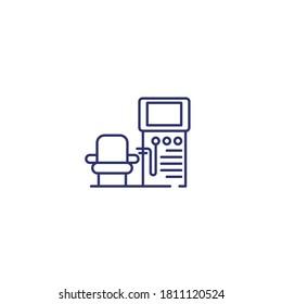 dialysis machine line icon on white