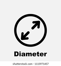 Diameter icon, flat isolated icon with circle, arrows and text, vector illustration.