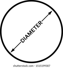 Diameter icon, flat isolated icon with circle, arrows and text.